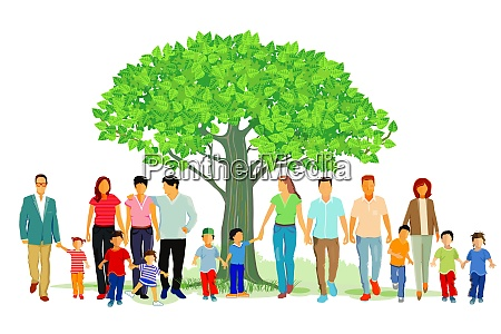 froehliche familiengruppe in der natur illustration