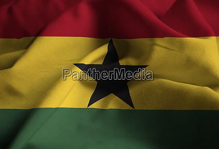 nahaufnahme von ruffled ghana flagge ghana