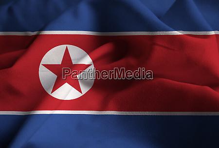 nahaufnahme der gerafften nordkoreanischen flagge nordkorea