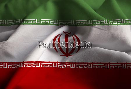 nahaufnahme der rueschen iran flagge iran