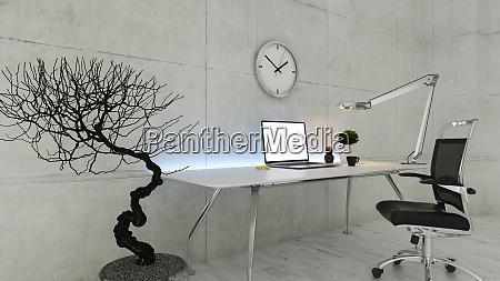 bueroarbeitsplatz mit betonwandrealistischem 3d rendering