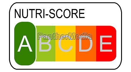 nutri score label a 5 farbiges