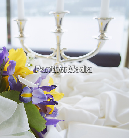 beautiful indoor table setting with flowers