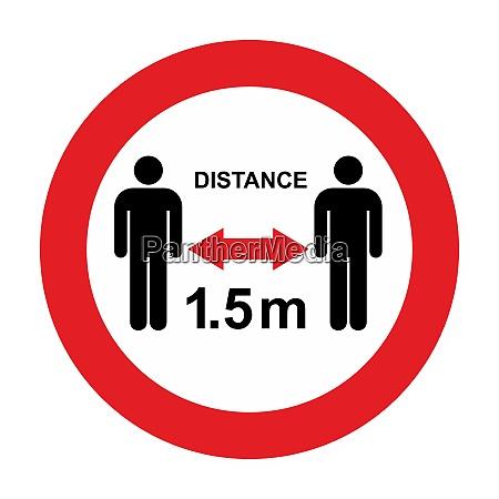 social distance warning und quarantaenezeichen lockdown