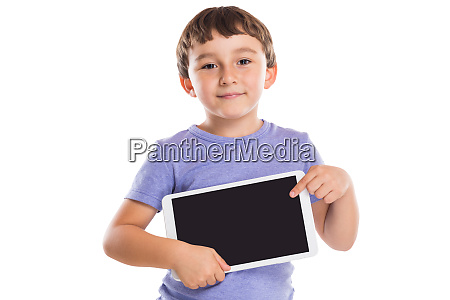 young boy child pointing at tablet