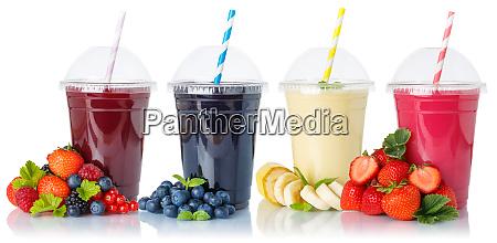 sammlung von frucht smoothies fruchtsaft trinken