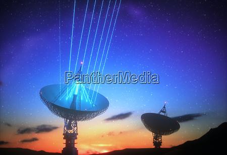 riesige antenne natatortschale fuer signal von
