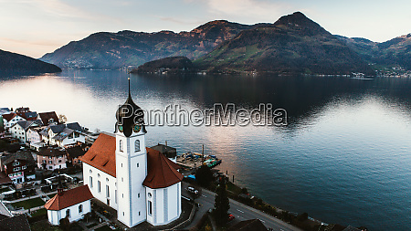 aerial view of lake lucerne switzerland