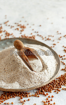 buckwheat flour in a plate with
