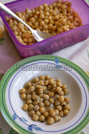 chickpeas soup in a white dish