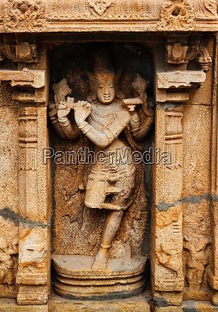 krishna bas relief im hindu tempel
