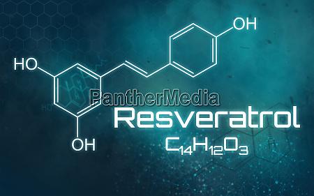 chemische formel von resveratrol auf einem
