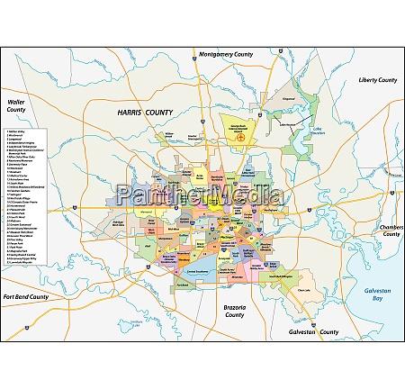vektor nachbarschaftskarte der texanischen stadt houston