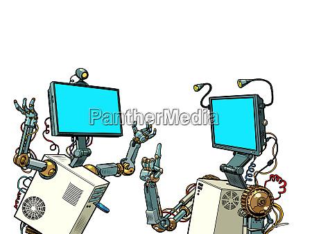 zwei roboter kommunizieren