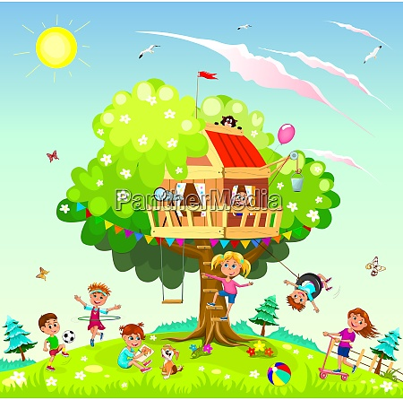 happy children play near the treehouse