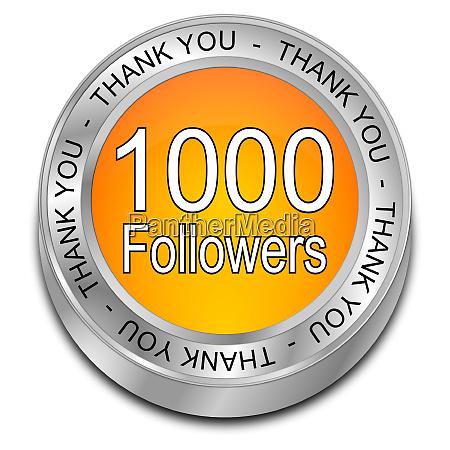 orange 1000 followers thank you button