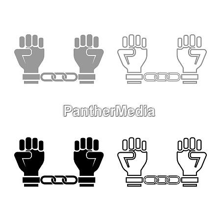 handschellen haende verkettet menschliche arme prisoner