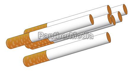 ein paar gekippte zigaretten isoliert auf