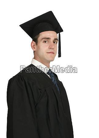 maennlicher absolvent auf weiss