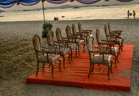expensive chairs on the beach of