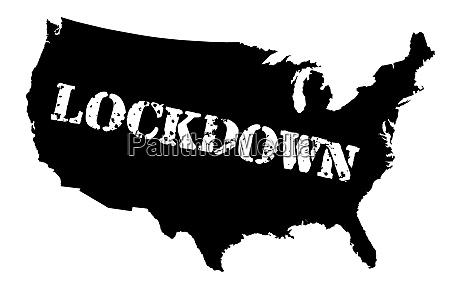 usa karte lockdown silhouette