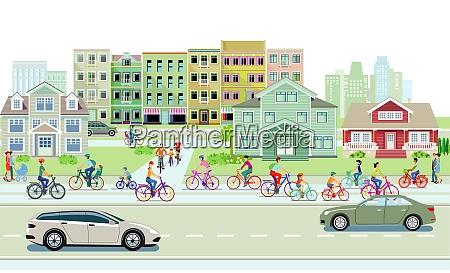 radfahrer auf dem radweg und strassenverkehr