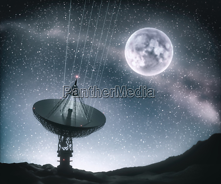 riesige antenne natatortschale fuer signal aus