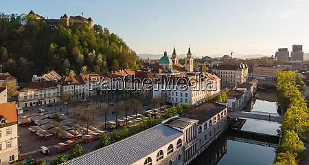 aerial drone panoramic view of ljubljana