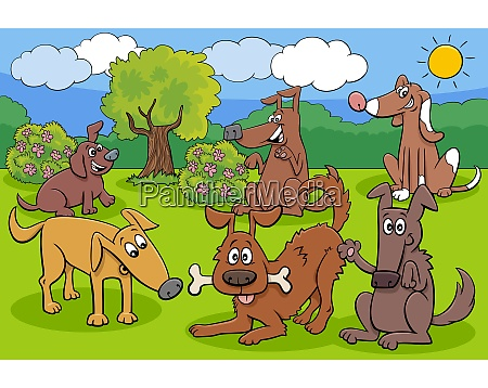 playful dogs and puppies cartoon characters