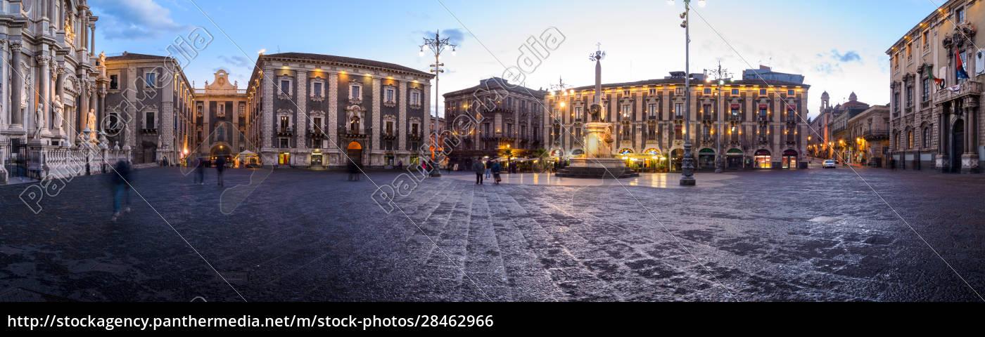domplatz, und, elefantenbrunnen, in, catania, sizilien, italien - 28462966