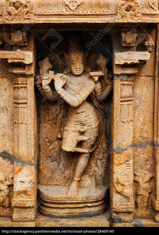 krishna, bas, relief, im, hindu-tempel., sri - 28469740