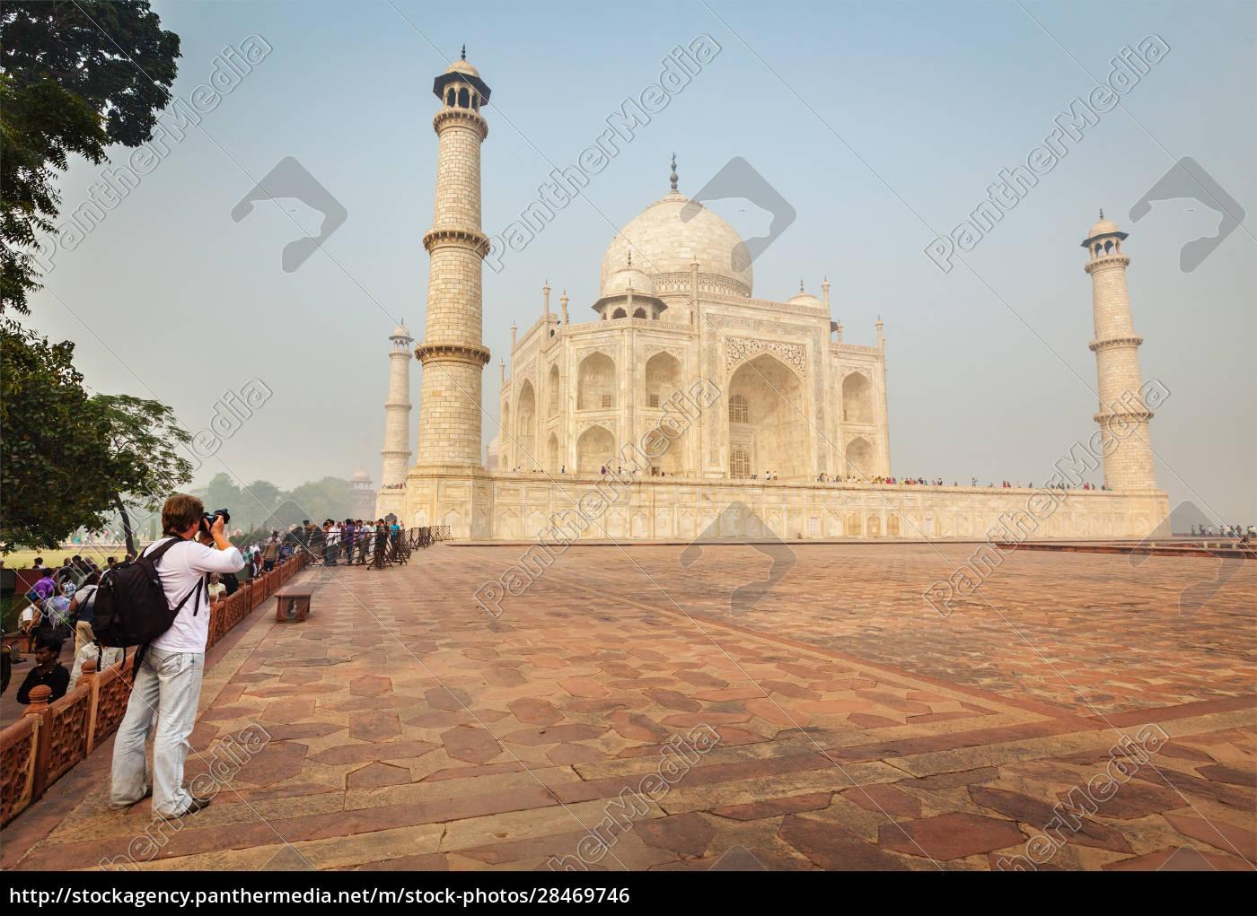touristen, fotografieren, taj, mahal, -, berühmtes - 28469746