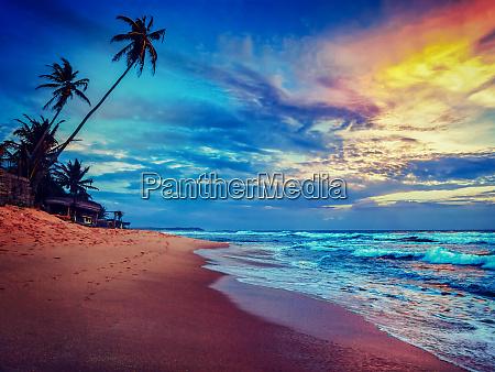 sonnenuntergang am tropischen strand