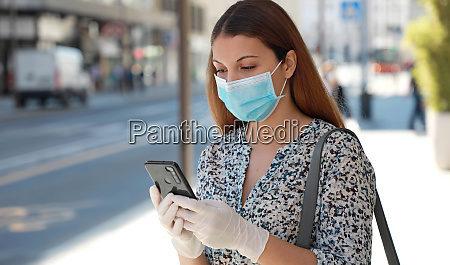 covid 19 woman wearing surgical mask