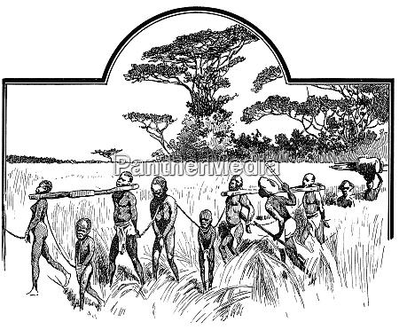 gruppe gefangener sklaven illustration des 19