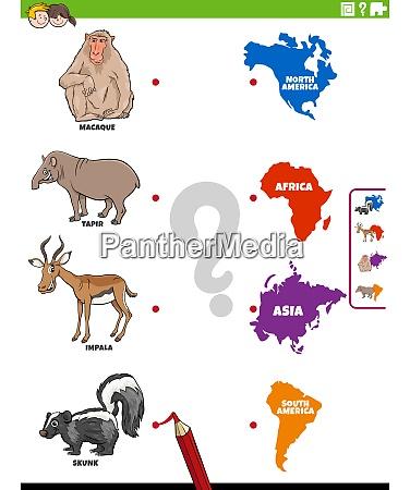 tierarten und kontinente paedagogische aufgabe