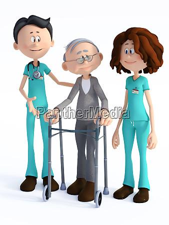 3d rendering von cartoon arzt und