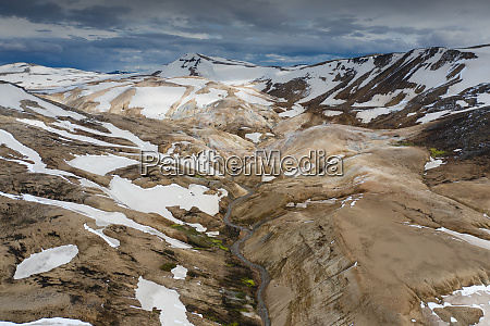 aerial view of rhyolite mountains of