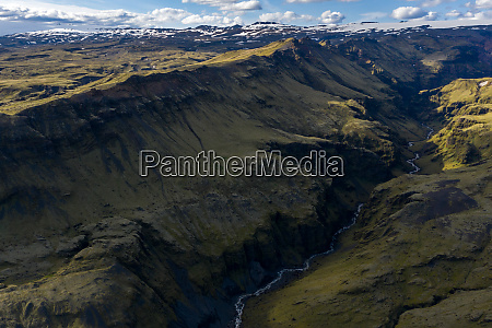 aerial view of mountains in solheimajokull