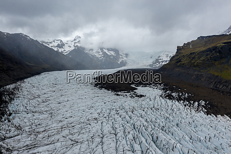 aerial view of a glacier in