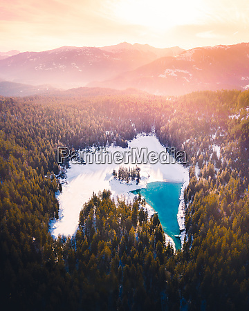 aerial view of caumasee at sunrise