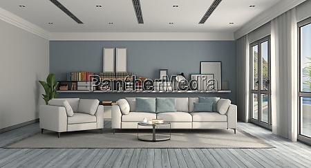 weiss und blau modernes wohnzimmer