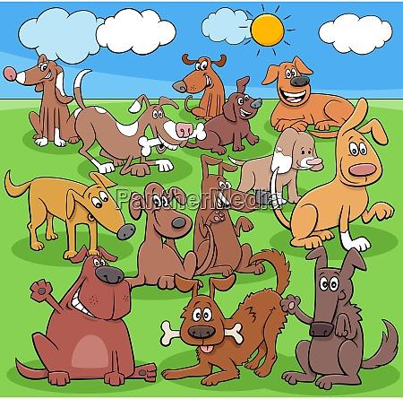 cartoon hunde und welpen charaktergruppe