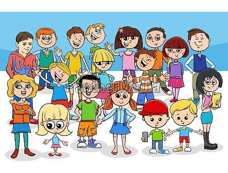 kinder und jugendliche cartoon figuren gruppe