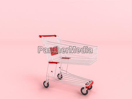 leeren einkaufswagen auf rosa hintergrund