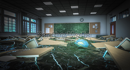 flooded school class with floating desks