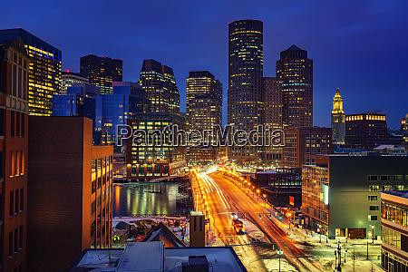 boston downtown at night