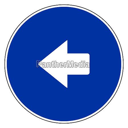 linker pfeil und blaues zeichen