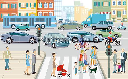 strassenverkehr in der stadt abbildung