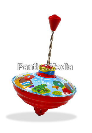 spinning top toy on white background